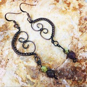 Copper wire wrapped dangle earrings Czech beads